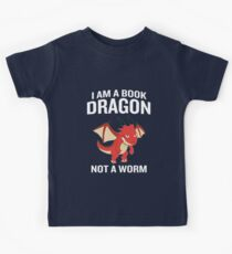 I Am A Book Dragon Not A Worm Funny Quote Book Worm  Kids Clothes