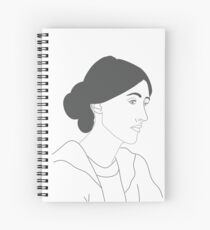 Virginia Woolf in White and Grey Drawing  Spiral Notebook