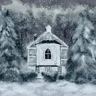 Country Church On A Snowy Night by Lois  Bryan