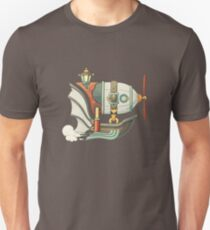 Cartoon steampunk styled flying airship with baloon and propeller Unisex T-Shirt