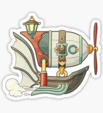Cartoon steampunk styled flying airship with baloon and propeller Sticker