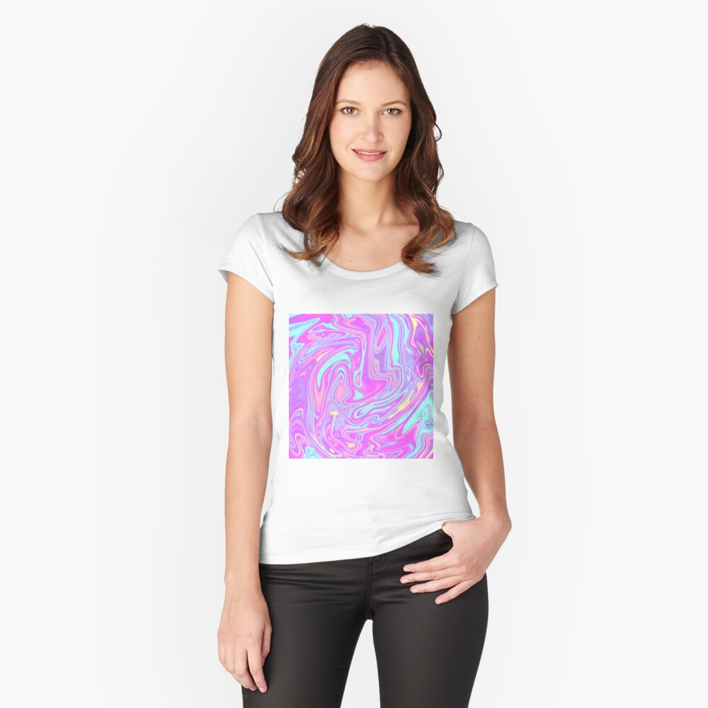 Liquid Rainbow Fitted Scoop T-Shirt