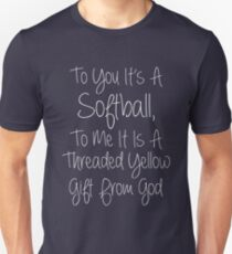Softball Threaded Yellow Gift From God T-Shirt