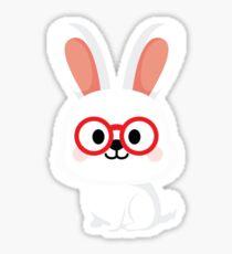 Bunny Rabbit Emoji Nerd Noob Glasses Sticker
