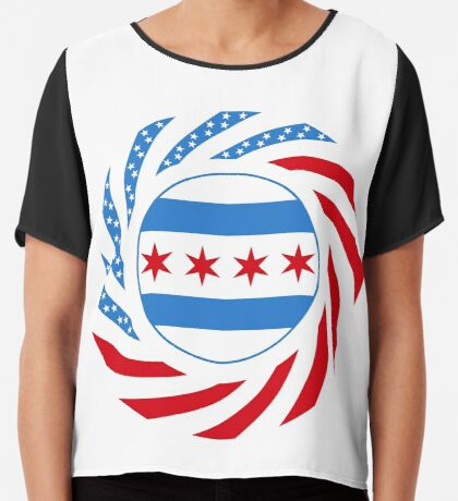 Chicago Murican Patriot Flag Series Chiffon Top