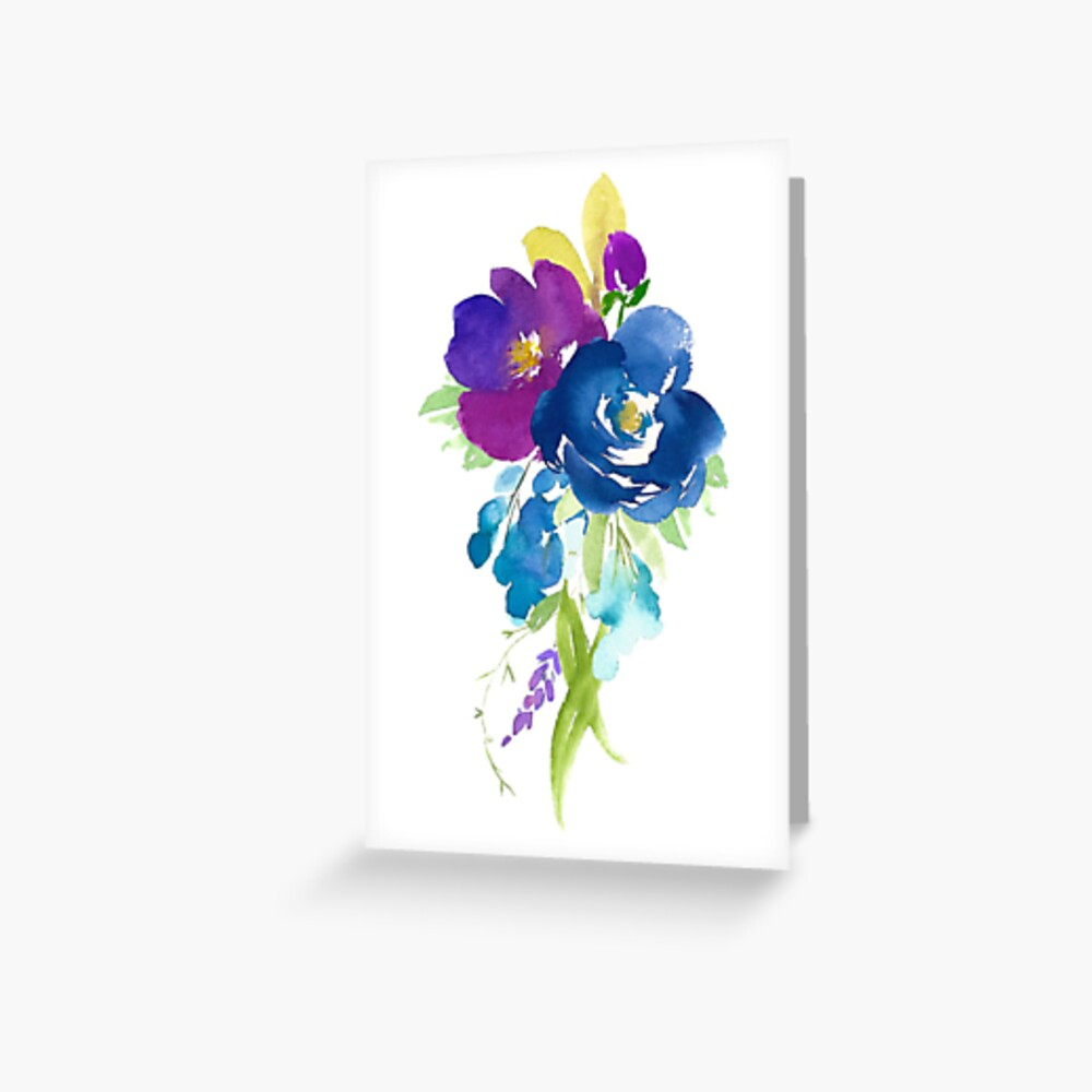 Violet Watercolor Flower Bouquet Greeting Card By Junkydotcom