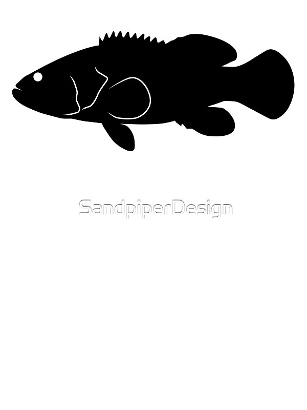 Goliath Grouper Fish Silhouette Black Stickers by