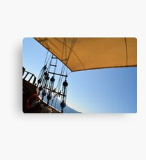 Details of an old ship with veil and anchors.  Canvas Print
