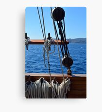 Details of an old ship at sea with rope. Canvas Print
