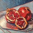 "Two pomegranates. Oil on board 16x14"" by Elizabeth Moore Golding"