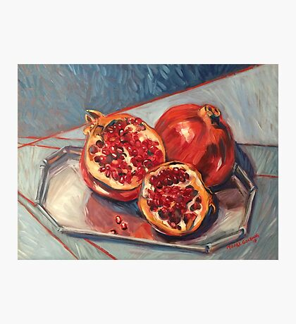 "Two pomegranates. Oil on board 16x14"" Photographic Print"