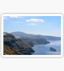 The Aegean Sea of Santorini, Greece with cruise ships.  Sticker