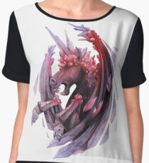 Watercolor crystallizing demonic horse Women's Chiffon Top