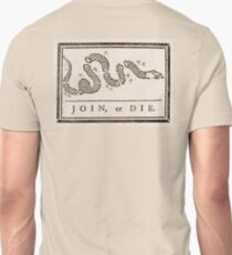 Join, or Die, Political cartoon, Benjamin Franklin T-Shirt