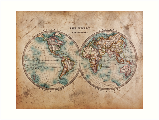 World Map Mid S Art Prints By BoyWithHat Redbubble - 1800s world map