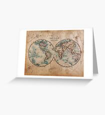 World Map Mid 1800s Greeting Card