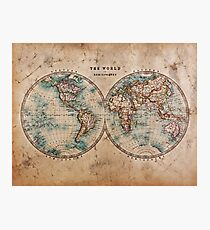World Map Mid 1800s Photographic Print