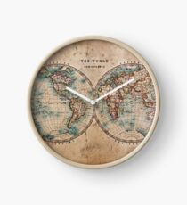 World Map Mid 1800s Clock