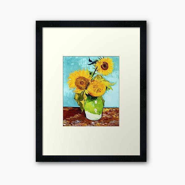 Three Sunflowers in a Vase by Van Gogh Framed Art Print