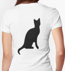 Cat, Side, Silhouette, Kitten, Pet, Cat, Feline, Puss, Pussy Womens Fitted T-Shirt