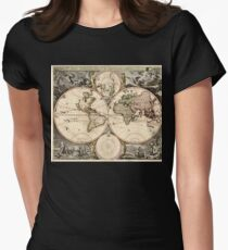 World Map 1690 Womens Fitted T-Shirt