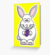 Rabbit, Cartoon, Easter Bunny, on Yellow Greeting Card