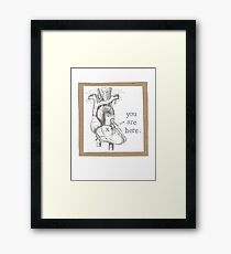 You Are Here Anatomical Heart Framed Print