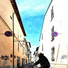 Glimpse with a man on a bicycle by Giuseppe Cocco