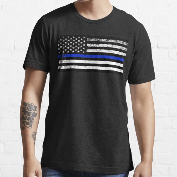 Police Styled Distressed Horizontal American Flag  Essential T-Shirt