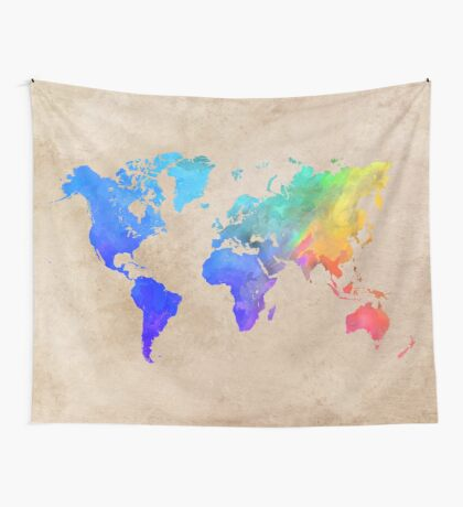 world map 42 Wall Tapestry