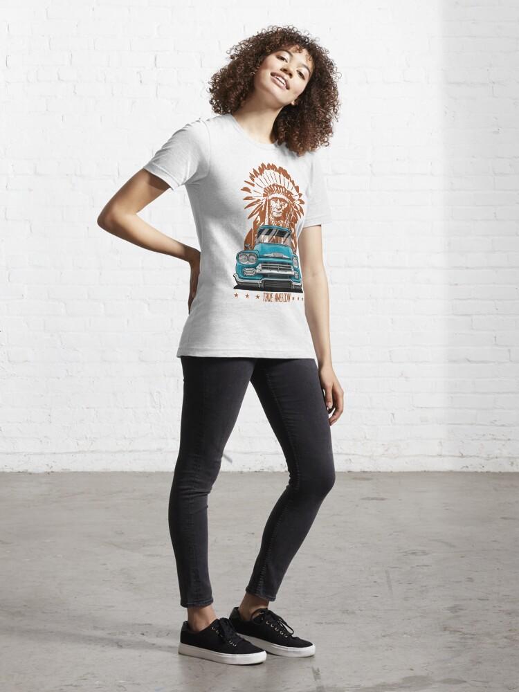Alternative Ansicht von Echter Amerikaner. Chevy Apache Pickup (Aquamarin) Essential T-Shirt