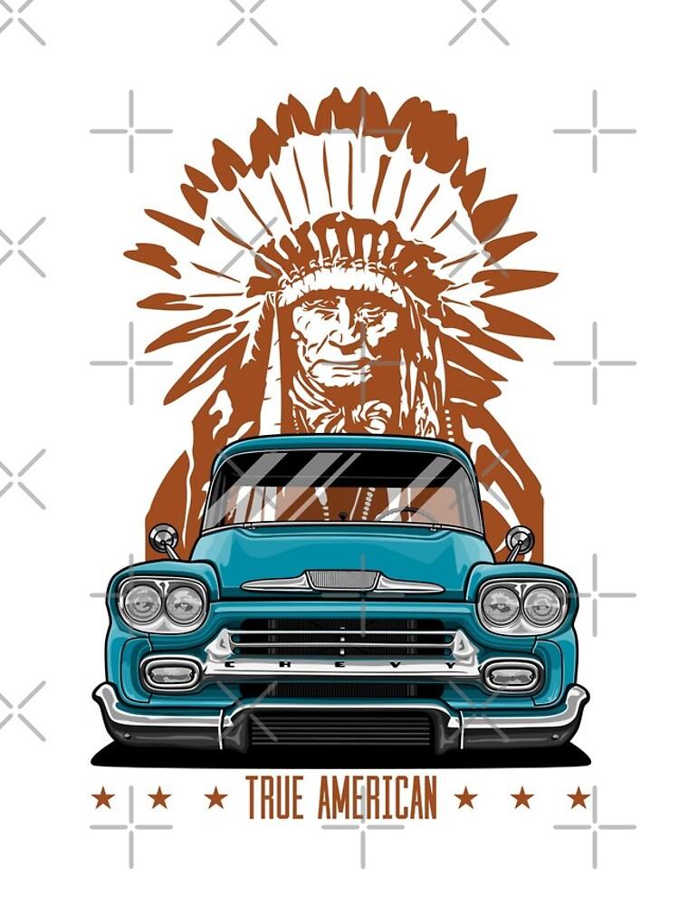 Wahrer Amerikaner. Chevy Apache Pickup Truck (Aquamarin) von OlegMarkaryan
