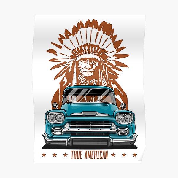 True American. Chevy Apache Pickup Truck (aquamarine) Poster