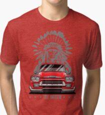 True American. Chevy Apache Pickup Truck (red) Tri-blend T-Shirt
