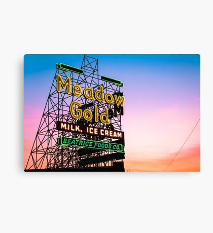 Tulsa Route 66 Neon - Meadow Gold Historic Oklahoma Print Canvas Print