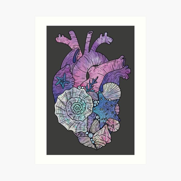' Mermaids Heart ' Ocean Inspired Illustration Art Print