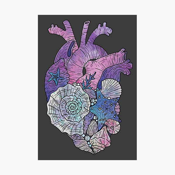 ' Mermaids Heart ' Ocean Inspired Illustration Photographic Print