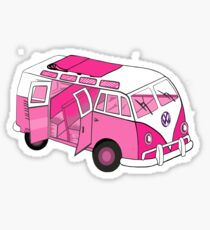 Split Screen VW Camper Van Pink Sticker
