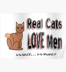 Real Men Love Cats Ironic Humor Poster