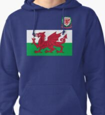 Wales Flag & Crest Football Deluxe Design Pullover Hoodie