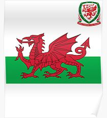 Wales Flag & Crest Football Deluxe Design Poster