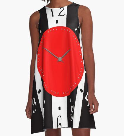 Black and White Clock  A-Line Dress