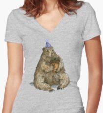 Groundhog Phil's Birthday Party Women's Fitted V-Neck T-Shirt