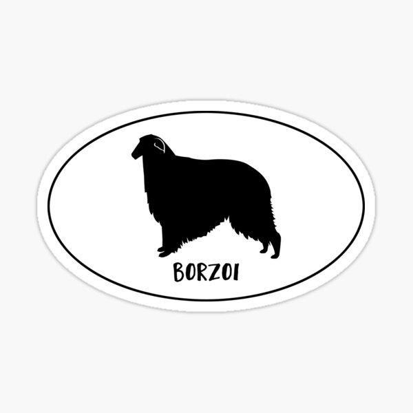 Borzoi Dog Breed Silhouette Classic Oval Sticker Sticker
