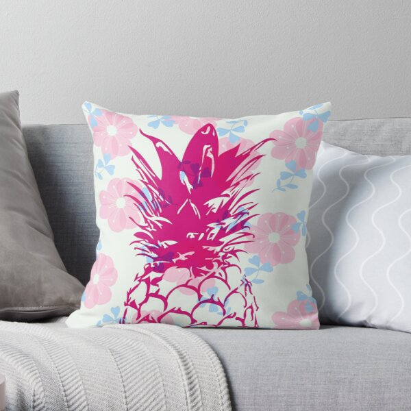 Beautiful Pineapple Flowers Pattern Throw Pillow