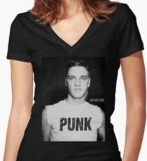 Elvis is a Punk Women's Fitted V-Neck T-Shirt