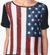 Distressed American Flag Women's Chiffon Top