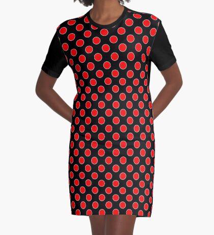 Cube 8 - Red Polka Dots  Graphic T-Shirt Dress