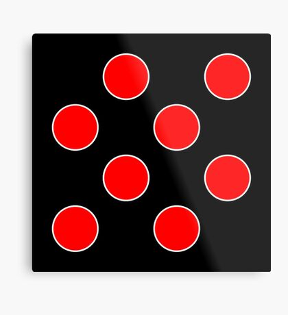 Cube 8 - Red Polka Dots  Metal Print