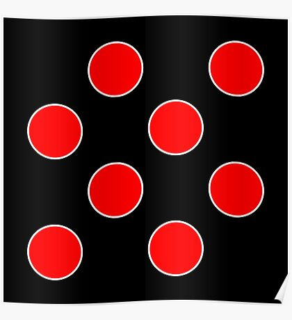 Cube 8 - Red Polka Dots  Poster